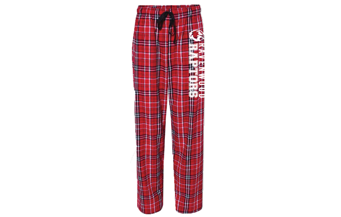 Ravenwood Raptors Pajama Lounge Pant - Red/Black/White Plaid Flannel