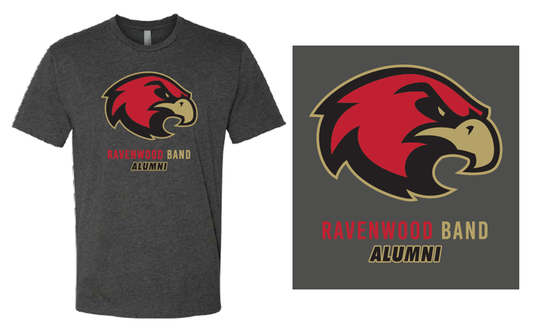 Ravenwood Band ALUMNI Raptor Head T-Shirt - Charcoal Gray