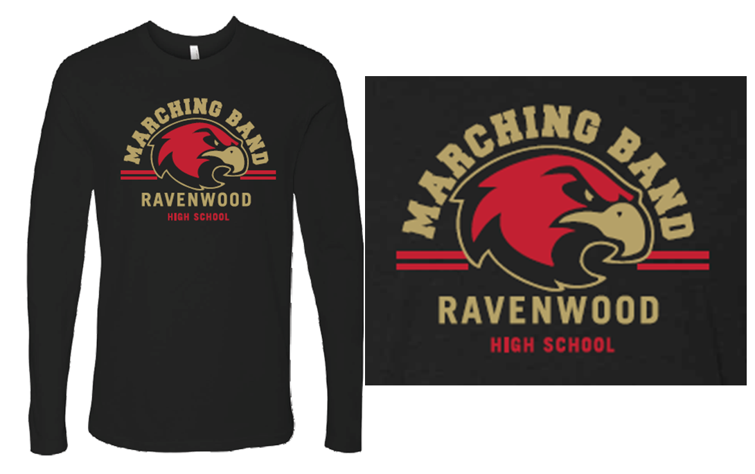 Ravenwood Arched Marching Band and Raptor Head Long Sleeve T-Shirt - Black