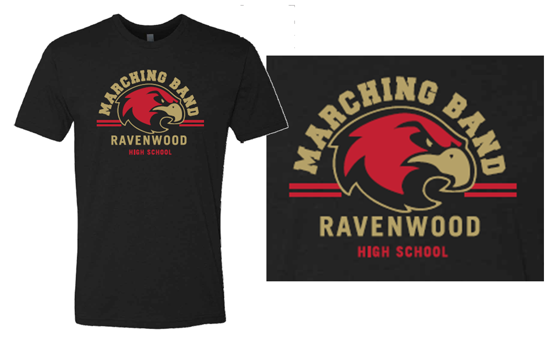 Ravenwood Arched Marching Band and Raptor Head T-Shirt - Black