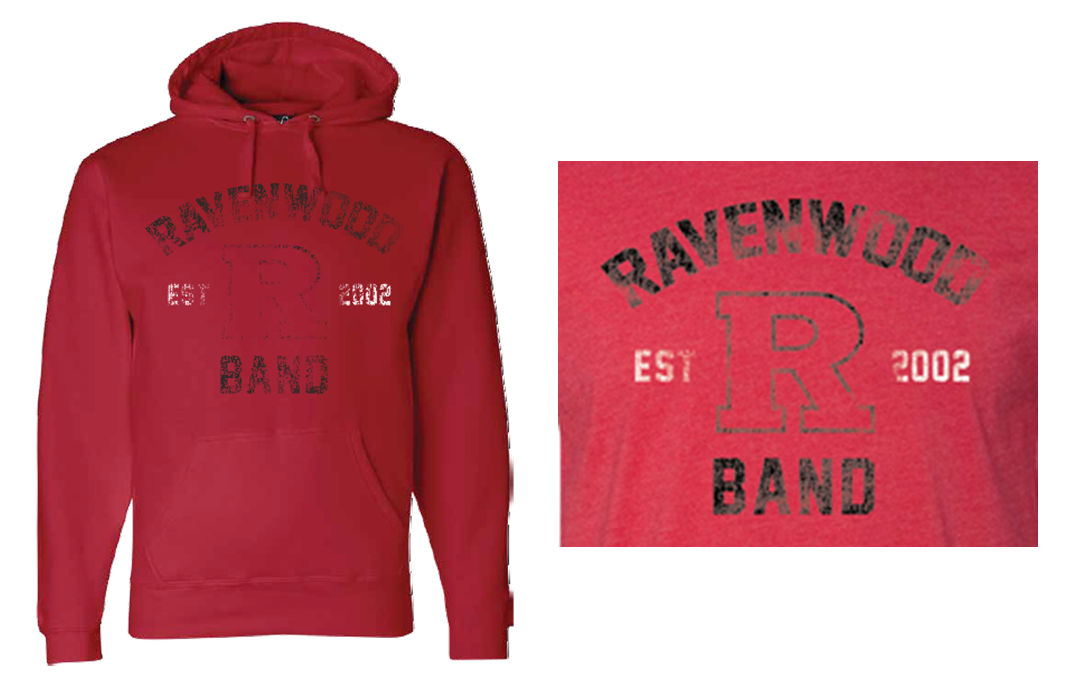 Ravenwood Band Distressed Power R Hoodie - Red