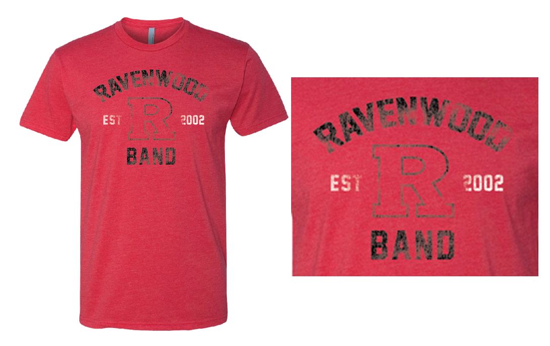 Ravenwood Band Distressed Power R T-Shirt - Red