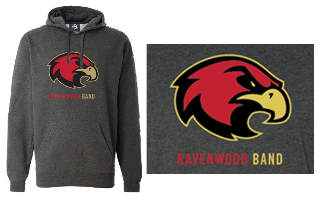Ravenwood Band Raptor Head Hoodie - Charcoal Gray