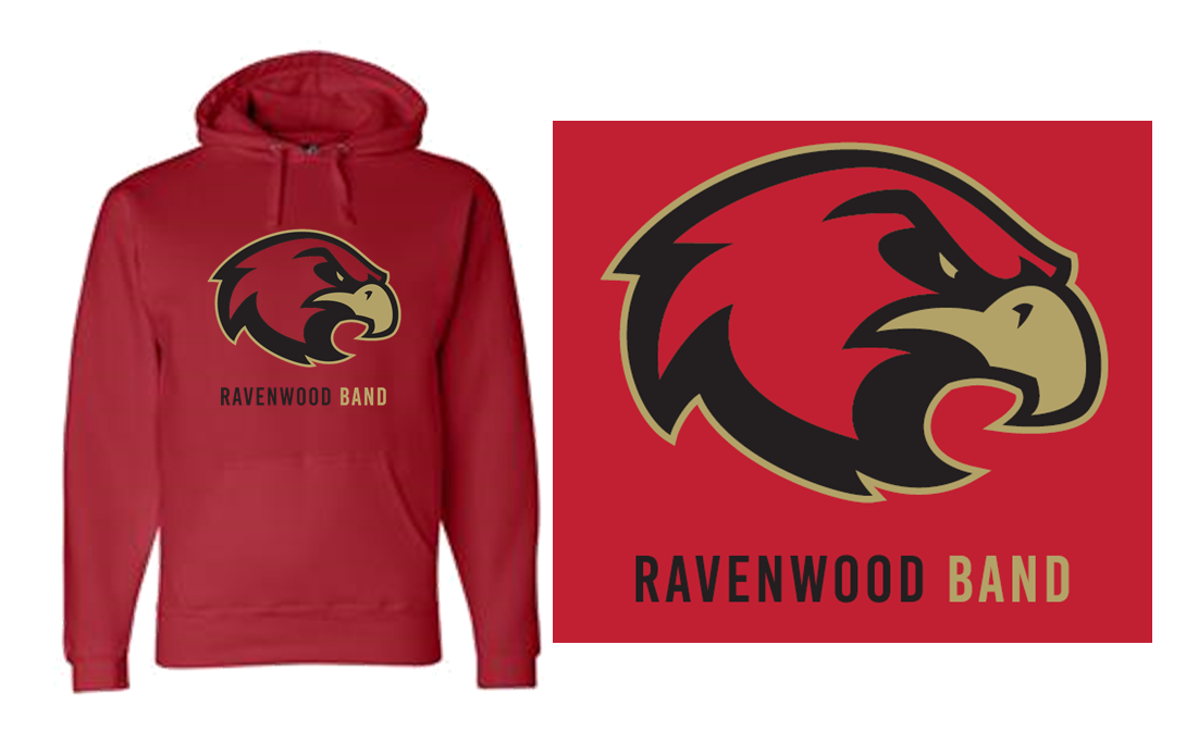 Ravenwood Band Raptor Head Hoodie - Red