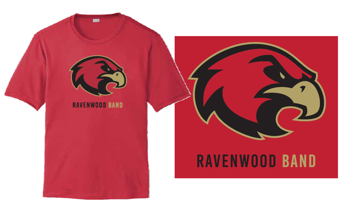Ravenwood Band Raptor Head Dry Fit T-Shirt - Red